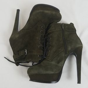 Aldo Olive Green Lace Up booties size 7